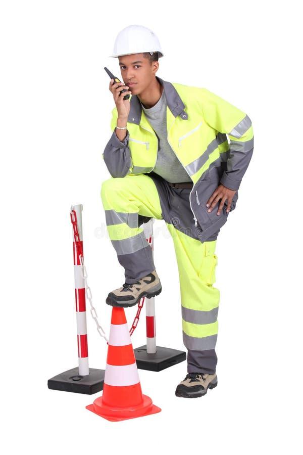 Roadworker royaltyfri foto