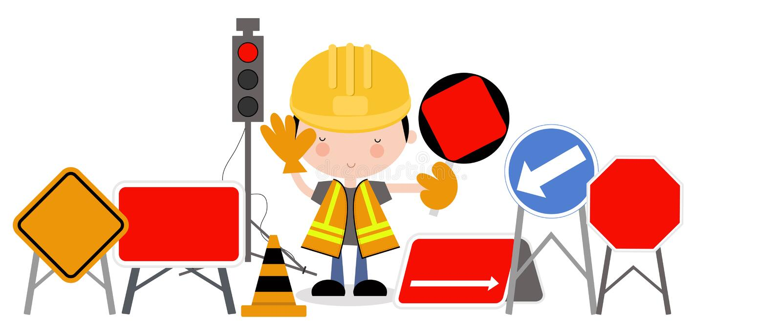Download Roadworks Guy And Traffic Lights Stock Vector - Image: 28123755