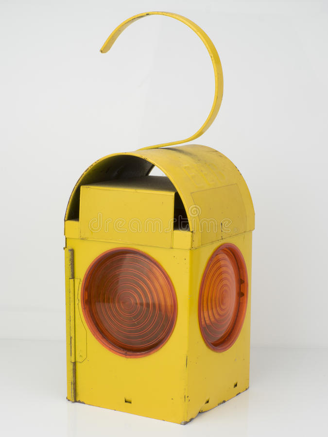 Roadworks lamp from 1970s stock photos