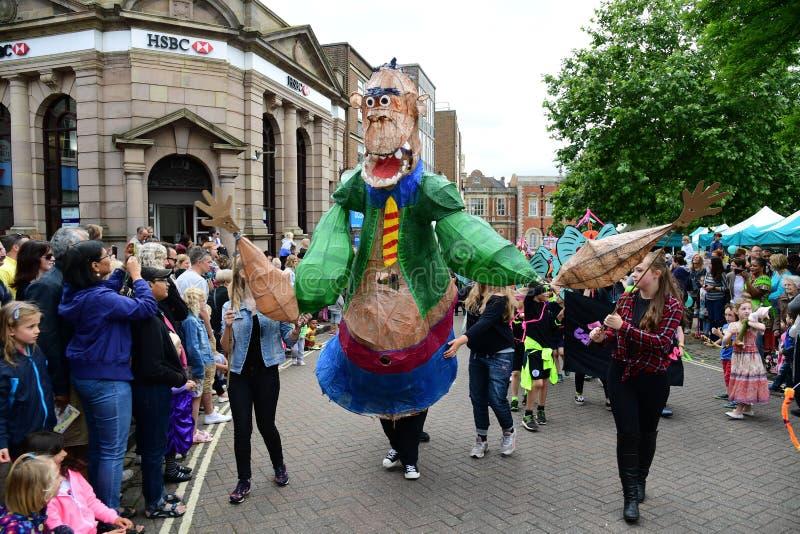 Roald Dahl karneval i Aylesbury, Buckinghamshire royaltyfria bilder