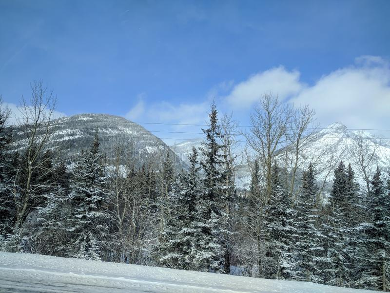 Roaming around Banff, Alberta, Calgary in winter. Weekend getaway to Banff National Park, Alberta. The road view was amazing royalty free stock photography