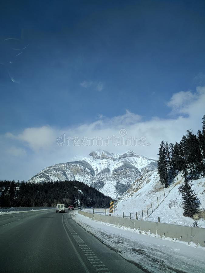 Roaming around Banff, Alberta, Calgary in winter. Weekend getaway to Banff National Park, Alberta. The road view was amazing stock photography