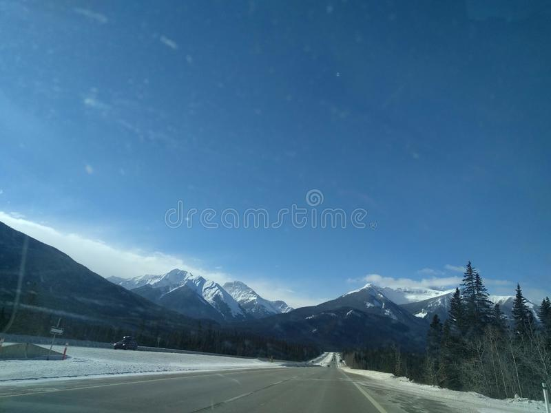 Roaming around Banff, Alberta, Calgary in winter. Weekend getaway to Banff National Park, Alberta. The road view was amazing stock image