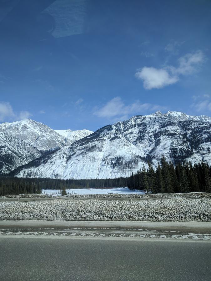Roaming around Banff, Alberta, Calgary in winter. Weekend getaway to Banff National Park, Alberta. The road view was amazing royalty free stock photos