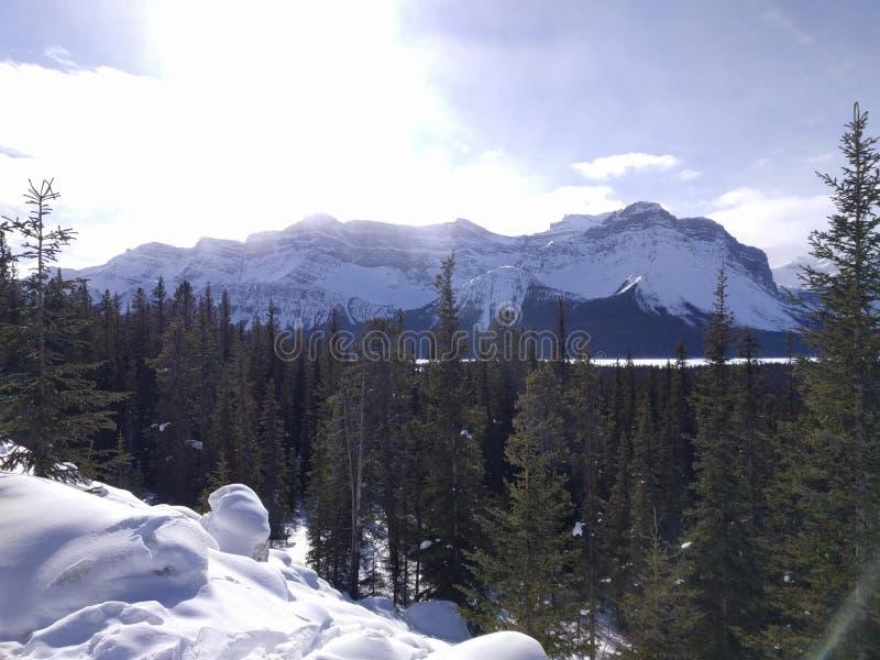 Roaming around Banff, Alberta, Calgary in winter. Weekend getaway to Banff National Park, Alberta. The road view was amazing stock photography