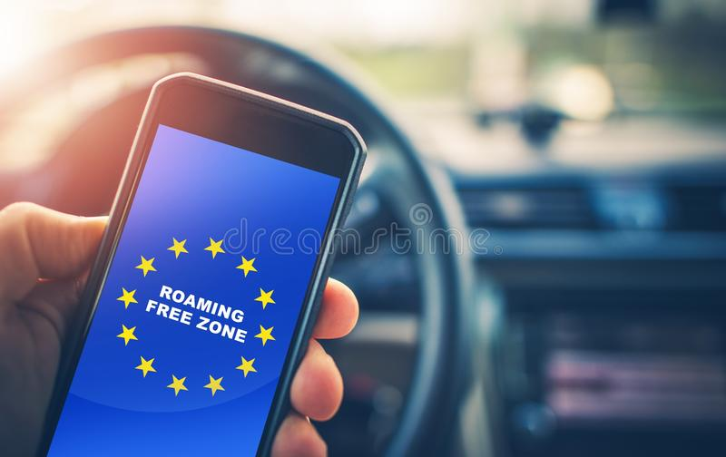 Roaming Free Euro Zone. Texting, Calling and Internet Use Without Roaming Charges Within Euro Zone. Concept Photo stock photo