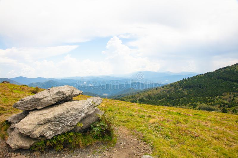 Roan Highlands Landscape with Mountains. View of meadow and mountains from the Roan Highlands on Round Bald near Roan Mountain stock images