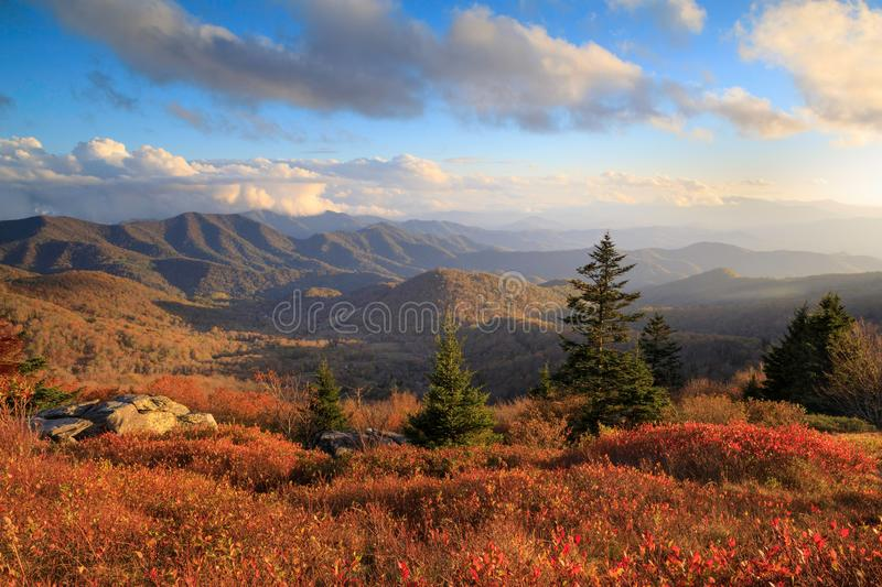 Roan Mountain NC Autumn Appalachian Trail Hike. Panoramic autumn view from Round Bald on Roan Mountain Appalachian Trail on the border of North Carolina and royalty free stock photo