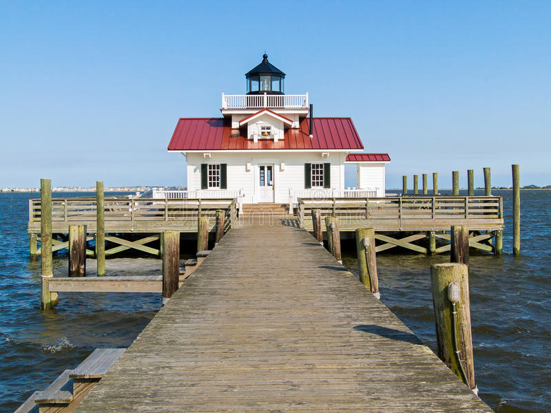 Roanoake Marshes LIghthouse. Roanoke Marshes Light, in the harbor at Manteo, North Carolina, is a replica of the square cottage-style screw-pile lighthouse that royalty free stock images