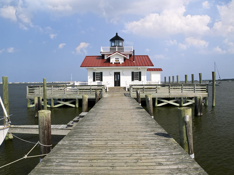 Roanok Marshes Light, Manteo, NC. A replica of the Roanoke Marshes Lighthouse sits on the waterfront in Manteo, NC stock images
