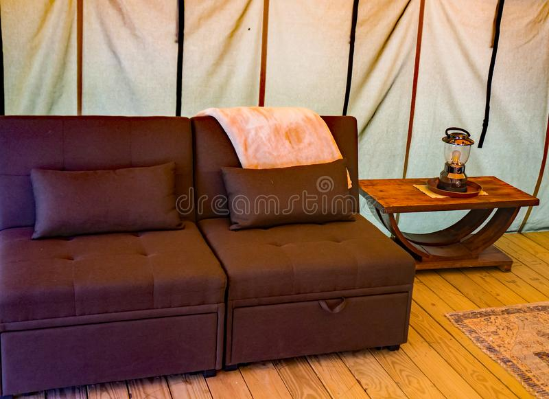 Luxury Camping at the Explore Park. Roanoke County, Virginia USA - April 27th; A view of camping in luxury with this large canvas tent available fully furnished royalty free stock image