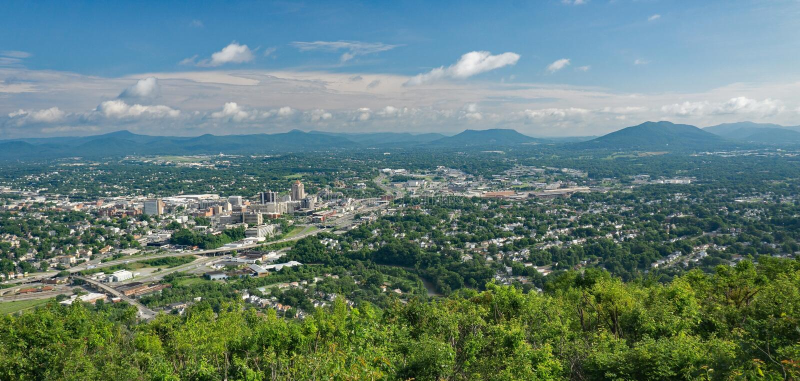 Roanoke dolina od Młyńskiej góry, Virginia, usa fotografia royalty free