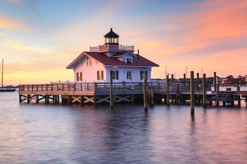 Roanoke Marshes Lighthouse Manteo North Carolina. Morning light on the Roanoke Marshes Lighthouse on Shallowbag Bay, Manteo, North Carolina Outer Banks stock photography