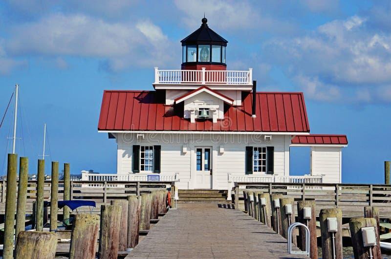 Roanoke Marshes Lighthouse in Manteo. Roanoke Marshes Lighthouse on a blue bird day in Manteo North Carolina royalty free stock images