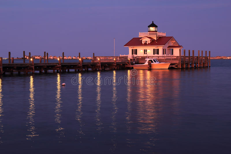 The Roanoke Marshes Lighthouse in North Carolina. This is a replica of the original Roanoke Marshes Light which was at the southern entrance to Croatan Sound royalty free stock image