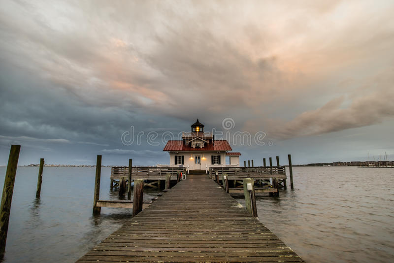 Roanoke Marshes Lighthouse in North Carolina. Sunset on Roanoke Marshes Lighthouse located along the Outer Banks in Manteo, North Carolina stock image