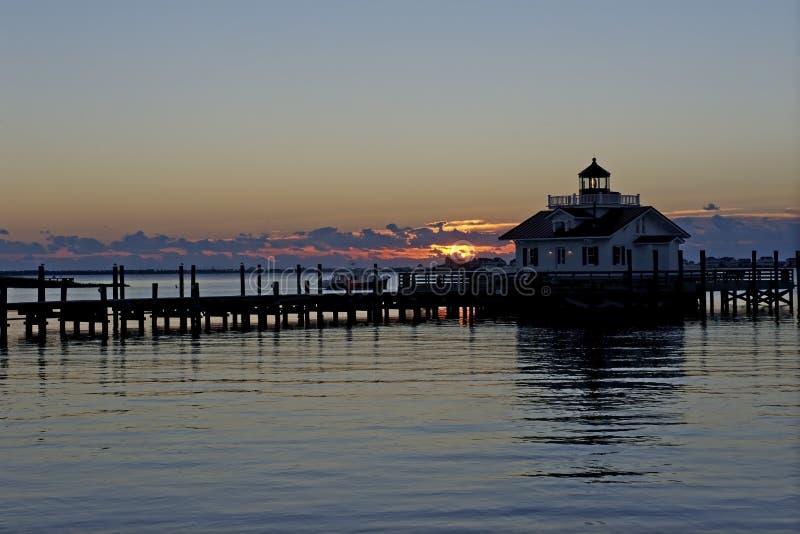 Roanoke Marshes Lighthouse at Sunrise. Roanoke Marshes Lighthouse in Manteo, North Carolina, at Sunrise stock photography