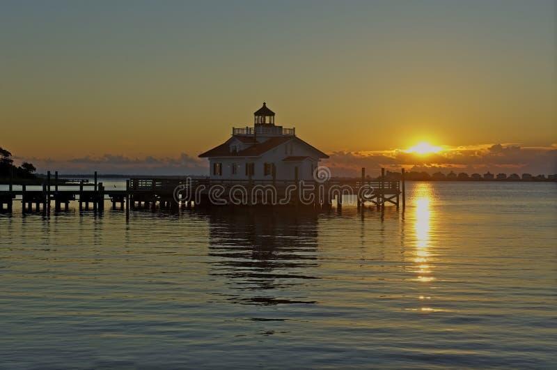 Roanoke Marshes Lighthouse at Sunrise. Roanoke Marshes Lighthouse in Manteo, North Carolina, at Sunrise royalty free stock image