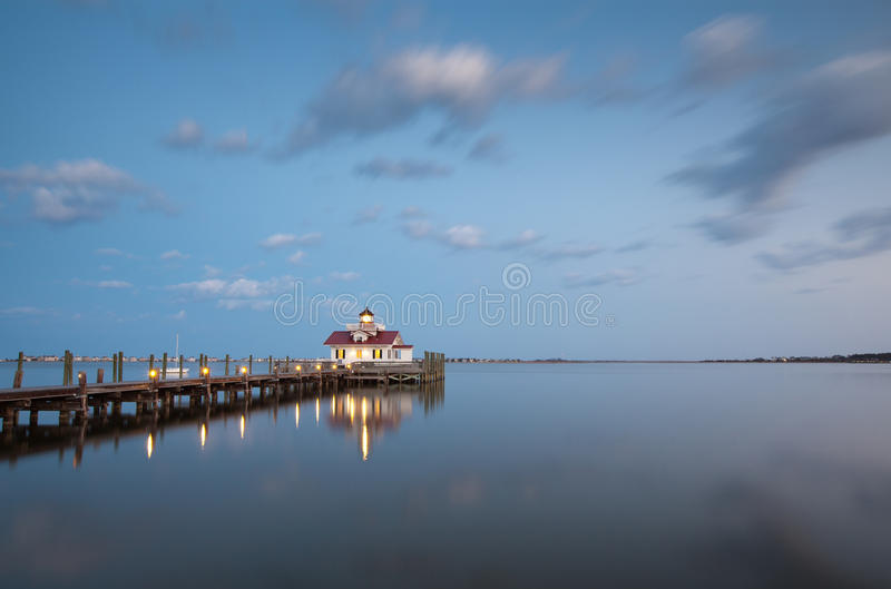 Roanoke Marshes OBX Lighthouse Blue Hour. The newest of the Outer Banks bunch, the Roanoke Marshes Light (which finished construction on September 25, 2004) is royalty free stock photography