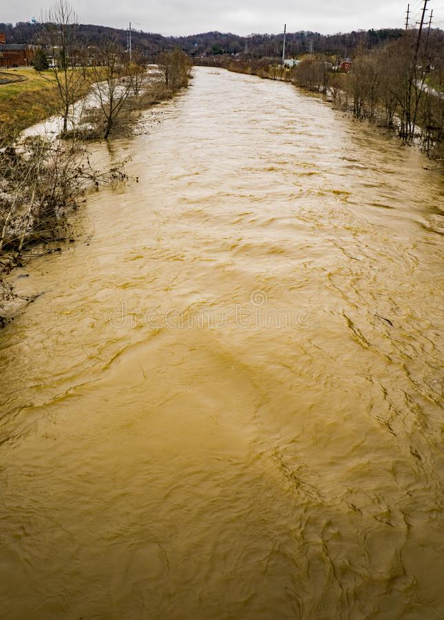 Roanoke River Above Flooding. February 24th, 2019: A winter view of the Roanoke River flooding the Roanoke River Greenway located in Roanoke County, Virginia royalty free stock photo