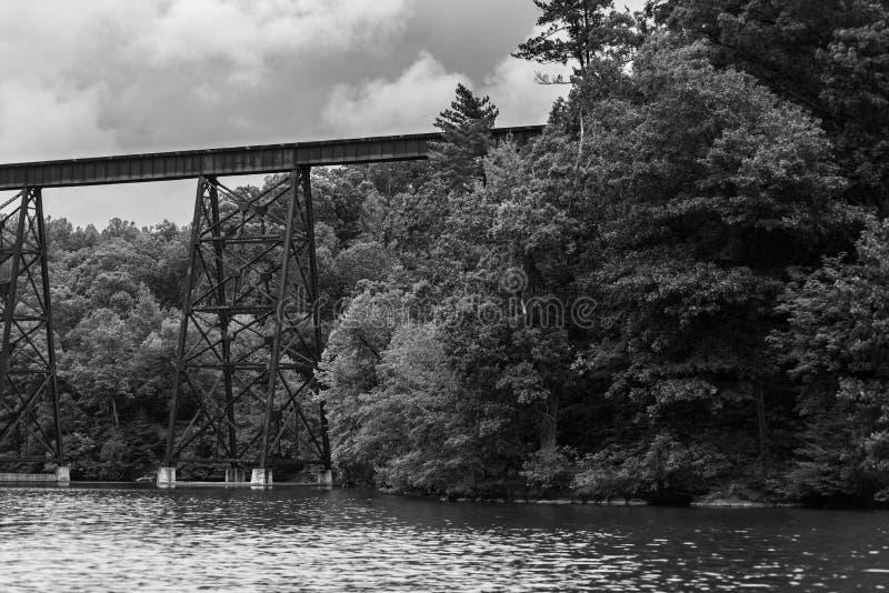 Roanoke River Bridge. ROANOKE VIRGINIA, UNITED STATES - Sep 05, 2019: Train Bridge over the Roanoke River in Virginia, up river from Smith mountain lake stock images