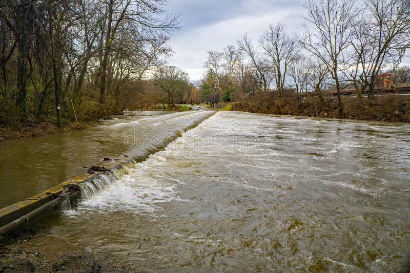 Roanoke River at Flood Stage at Smith Park stock images