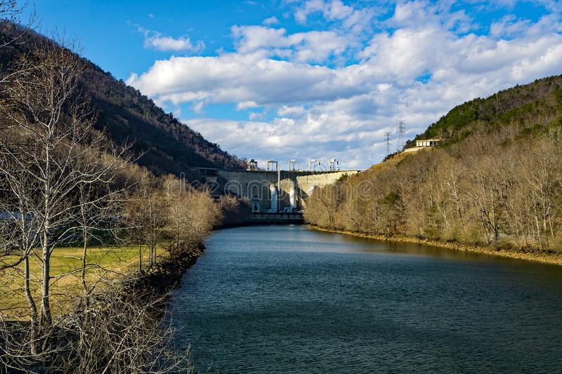 Roanoke River View of the Smith Mountain Hydroelectric Dam. Sandy Level, VA – January 8th:Roanoke River view of the Smith Mountain Hydroelectric Dam royalty free stock photography