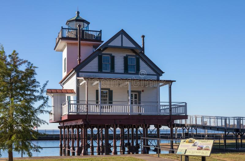 Roanoke Rzeczna latarnia morska Edenton Pólnocna Karolina zdjęcie stock