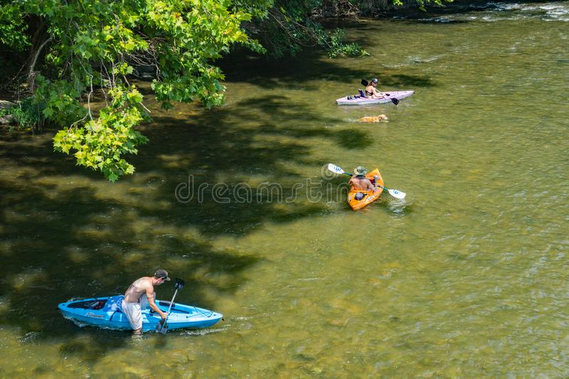 Family Enjoying a Day on the Roanoke River stock image