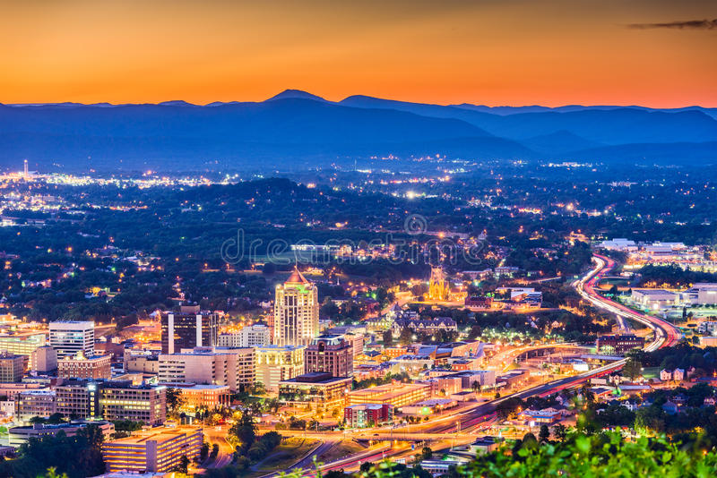 Roanoke, Virginia Skyline royalty-vrije stock foto's