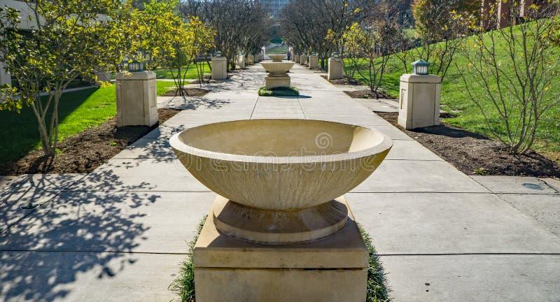 Fountains Row at Elmwood Park, Roanoke, Virginia, USA. Roanoke, Virginia USA – Nov. 17th: Concrete fountains row located Elmwood Park in Roanoke, Virginia stock photo