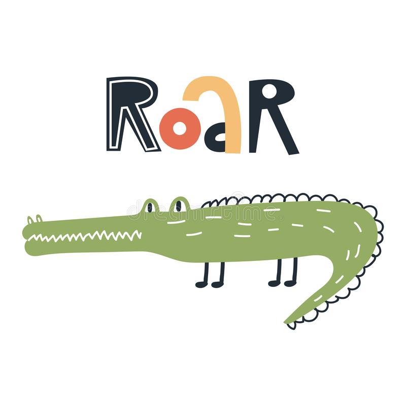 Roar - Cute kids hand drawn nursery poster with crocodile animal and lettering. Color vector illustration. royalty free illustration