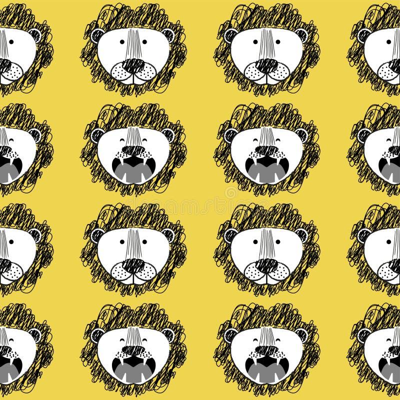 Roar Lion and cute lion pattern stock illustration