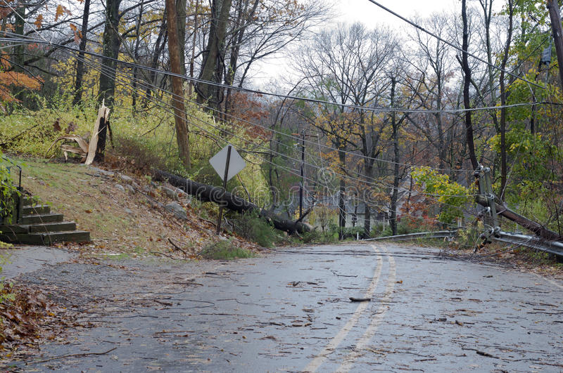 Roard blocked with damage from Sandy stock photo