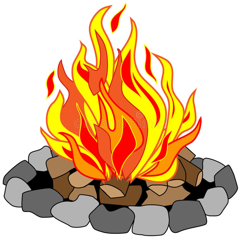 Roaring Campfire. Vector drawing of campfire in a stone pit with burning logs creating bright yellow, red and orange flames royalty free illustration