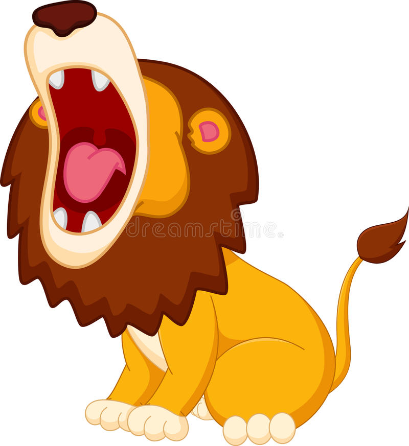 Roaring lion cartoon vector illustration