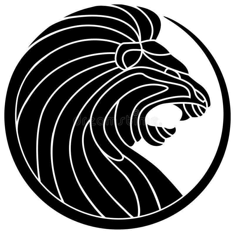 D Line Drawings Logo : Roaring lion stock vector image