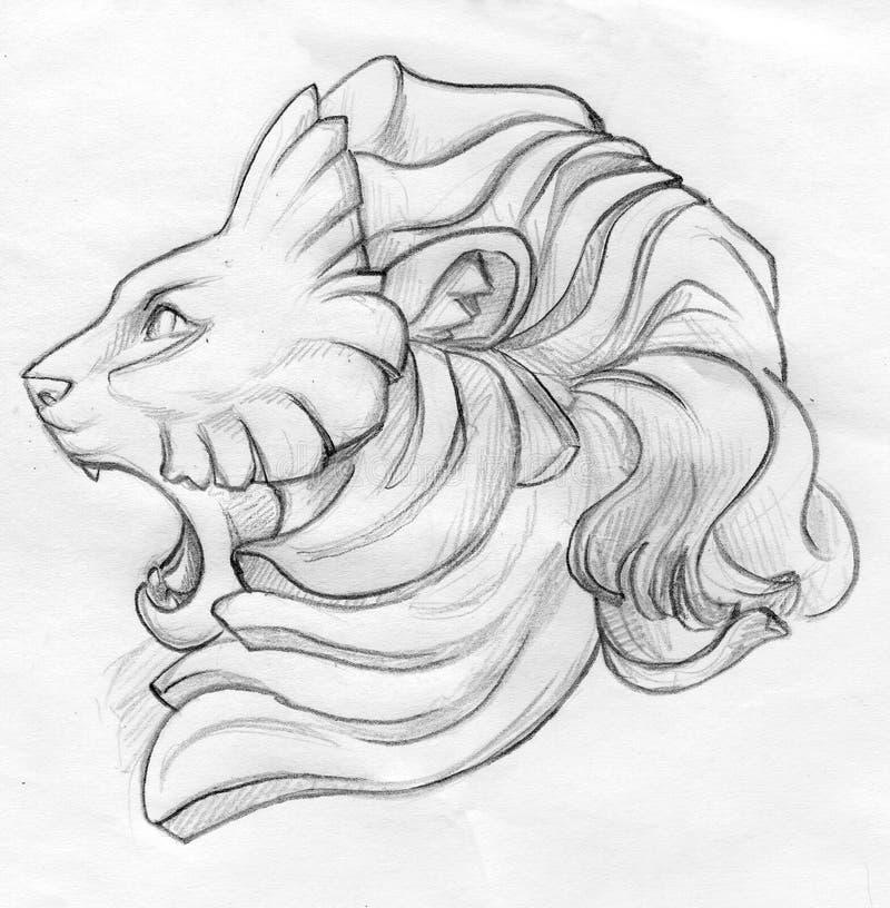 roaring lion pencil sketch stock illustration