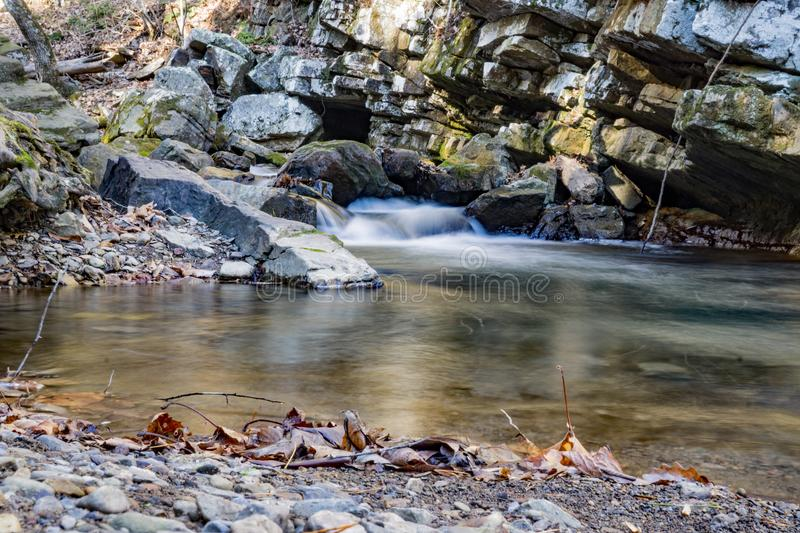 Late Autumn View of Roaring Run Creek stock images