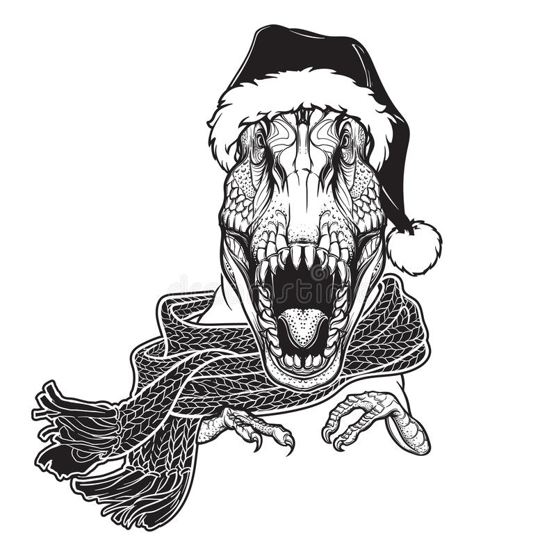 Roaring T-Rex in Santa Clouses hat and scarf. Christmas clothes print or sticker design. Black and white royalty free stock photos