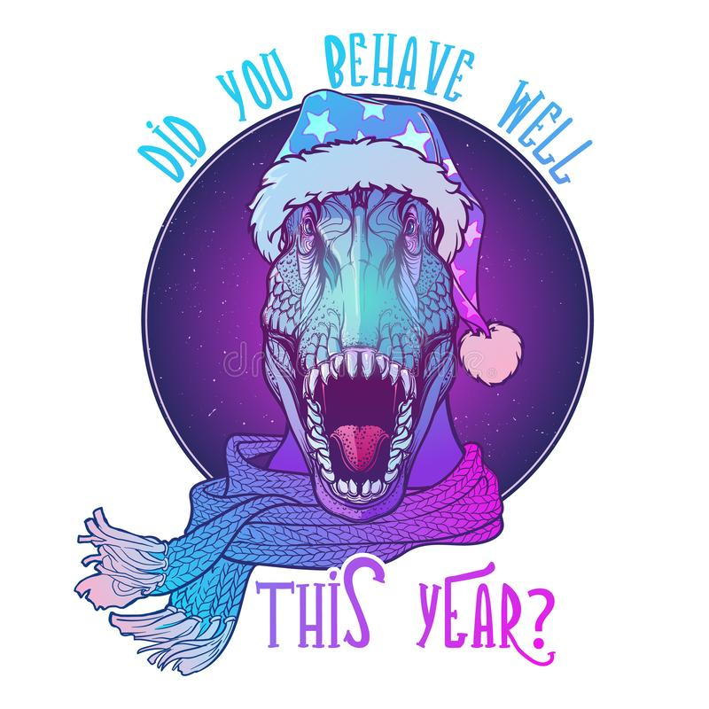 Roaring T-Rex in Santa Clouses hat and scarf. Christmas clothes print or sticker design. Neon Colored royalty free stock photos