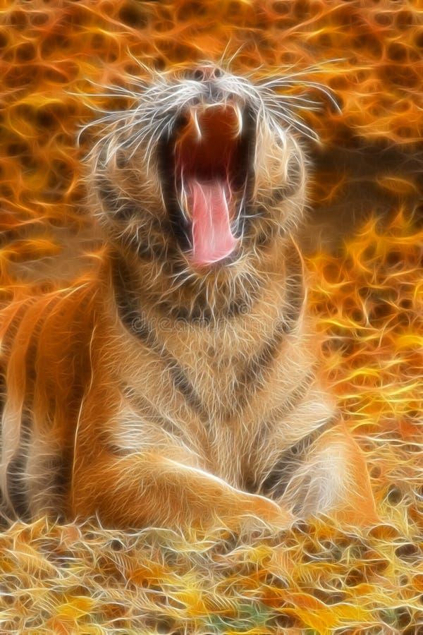Roaring tiger fractal royalty free stock photos