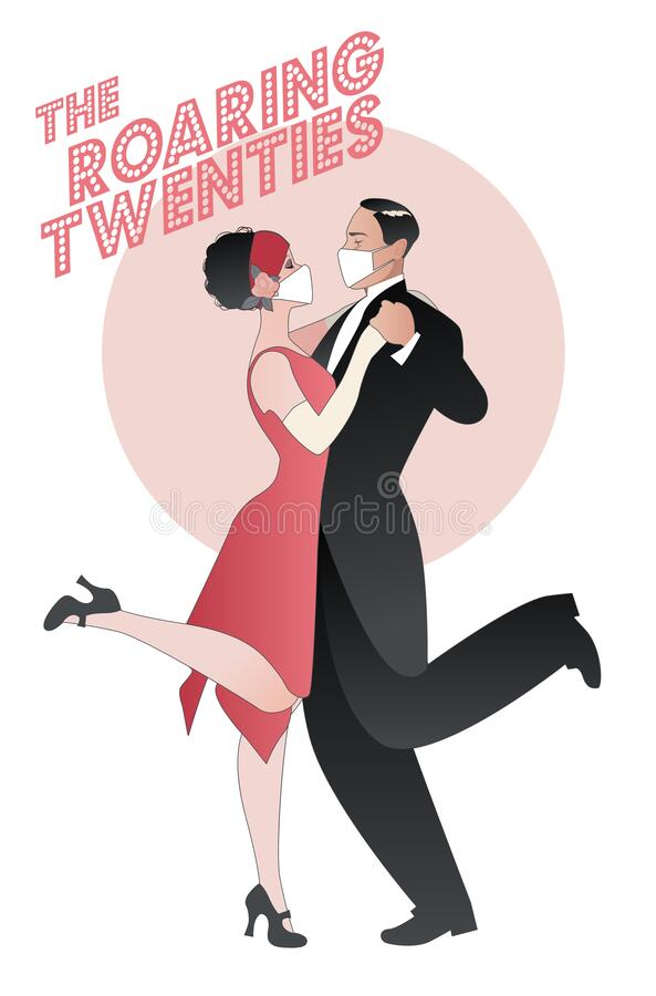 Free Roaring Twenties. Couple Dancing Charleston Wearing Retro Clothes And Face Mask Stock Photo - 194386100