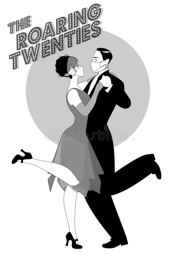 Free Roaring Twenties. Couple Dancing Charleston Wearing Retro Clothes And Face Mask Stock Photo - 194386110