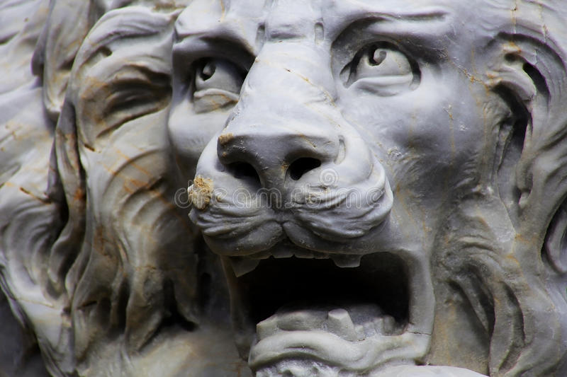Roaring White Lion Statue stock photography