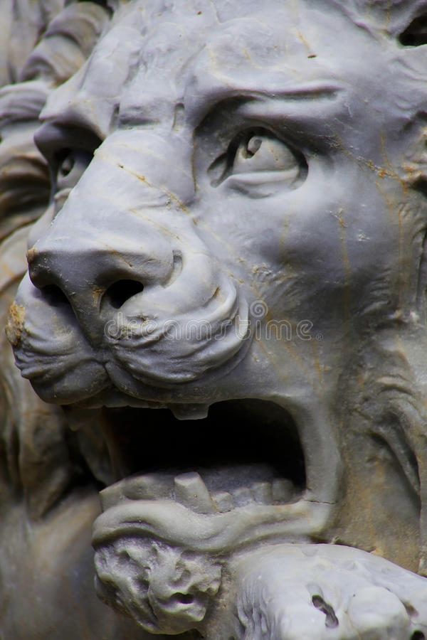 Roaring White Lion Statue stock photo