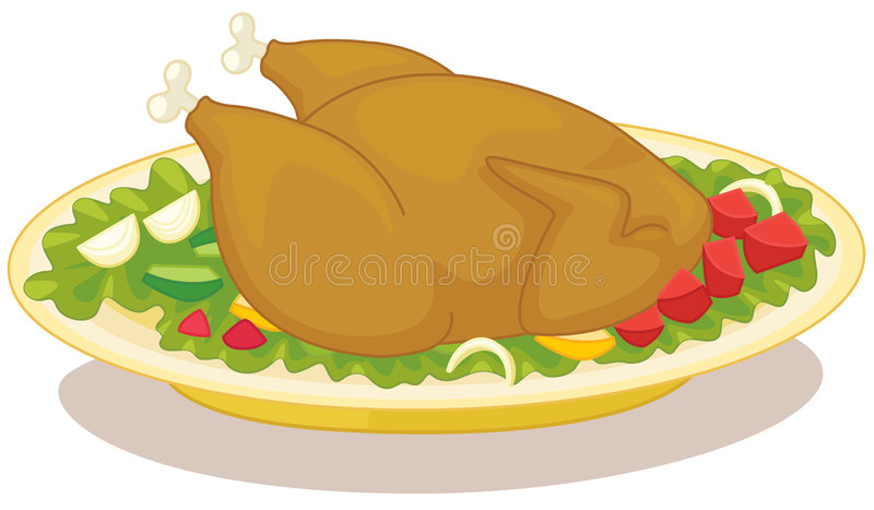 roast κοτόπουλου διανυσματική απεικόνιση