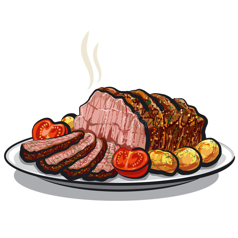 Roast beef. Illustration of the roast beef with potatoes royalty free illustration