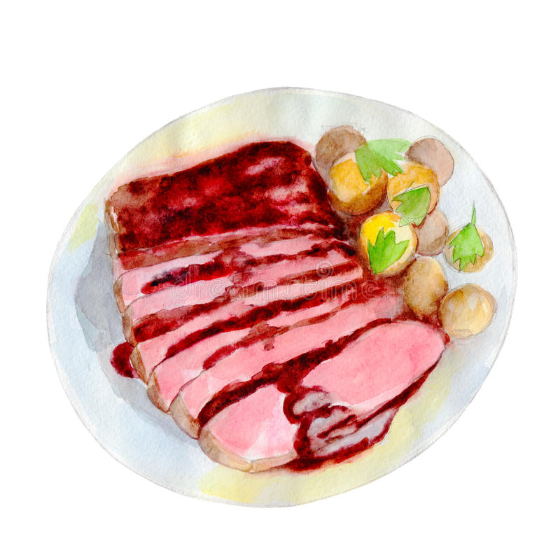 The roast beef with potatoes on dish, watercolor illustration in hand-drawn style. vector illustration