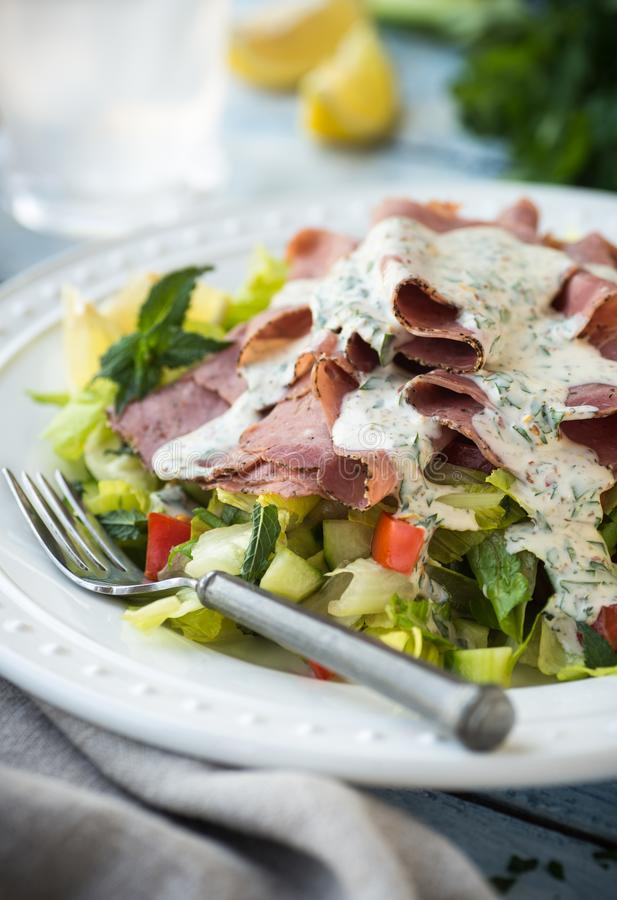 Chopped Romaine Roast Beef Salad stock photo